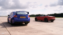 VIDEO: Jaguar F-type V6 S vs. Subaru WRX STI | evo DRAG BATTLE