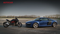 VIDEO: Audi R8 V10 Plus vs Ducati Diavel - kes on kiirem?